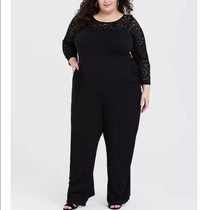 TORRID Black Lace Challis Wide Leg Jumpsuit 3X-4X